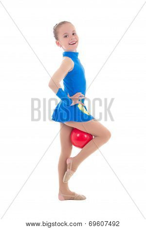 Cute Little Girl Doing Gymnastics With Ball Isolated On White