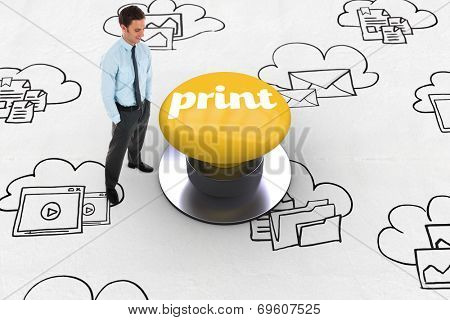 The word print and happy businessman standing with hands in pockets against yellow push button