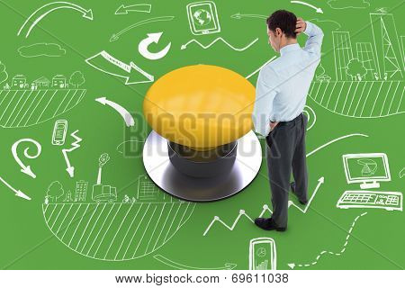 Thinking businessman scratching head against green graphic background