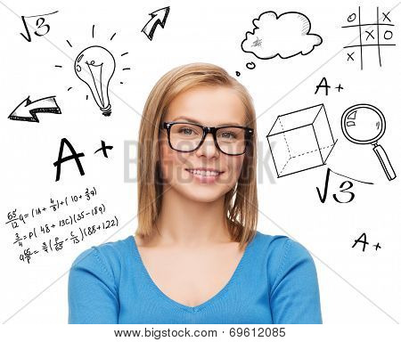 education, school, people, eyewear and knowledge concept - smiling woman in glasses thinking