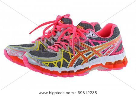 BANGKOK, THAILAND - JULY 2014 : ASICS Gel Kayano 20 Running shoes on 25 July 2014 in Bangkok, Thailand. Kayano 20 has a 2-layered sole with Gel cushioning.