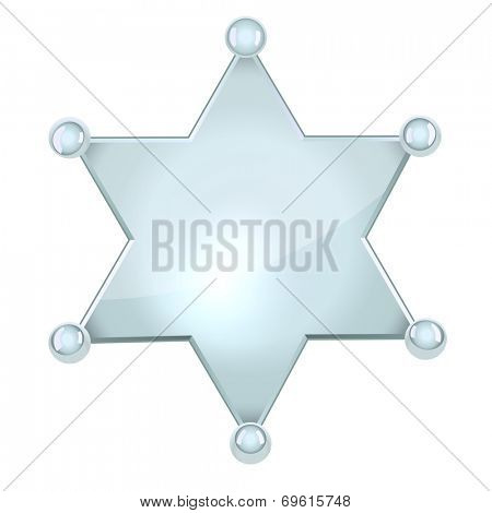 Blank silver sheriff star isolated on white background.