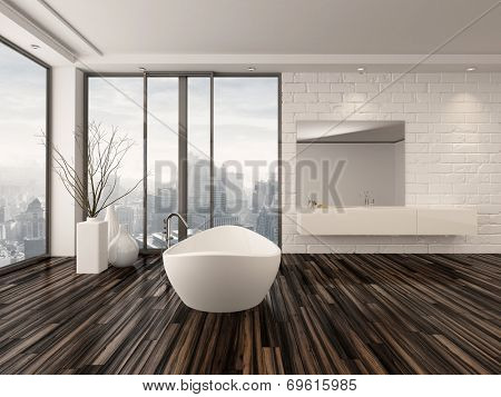 Modern white minimalist bathroom interior with a freestanding bath tub and recessed wall alcove with wrap around floor-to-ceiling view windows overlooking a town