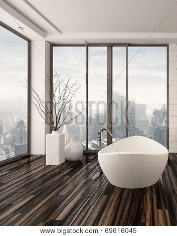 Modern bathroom interior with a freestanding white bathtub on a natural wood parquet floor in front of floor-to-ceiling glass windows overlooking a town