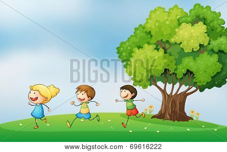 Illustration of the three energetic kids playing at the hilltop with a big tree
