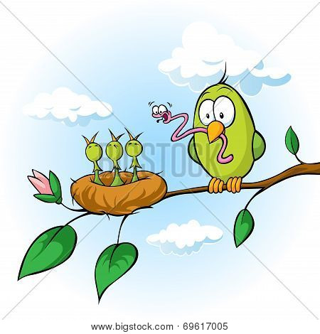 Spring Illustration Of Bird Feeding Hungry Chicks