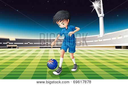 Illustration of a boy at the field using the flag of New Zealand