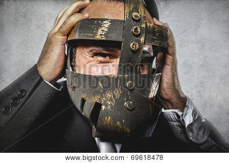 hate, dangerous business man with iron mask and expressions
