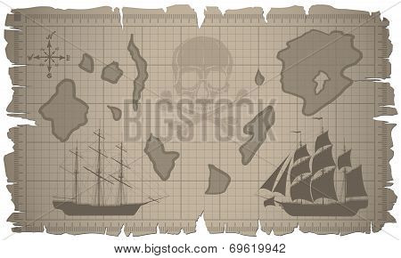 Set of old paper sheets and old map. Vector.
