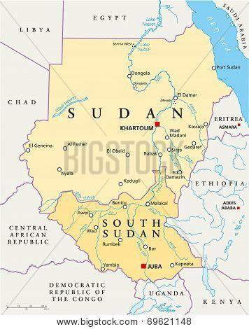 Sudan and South Sudan Political Map