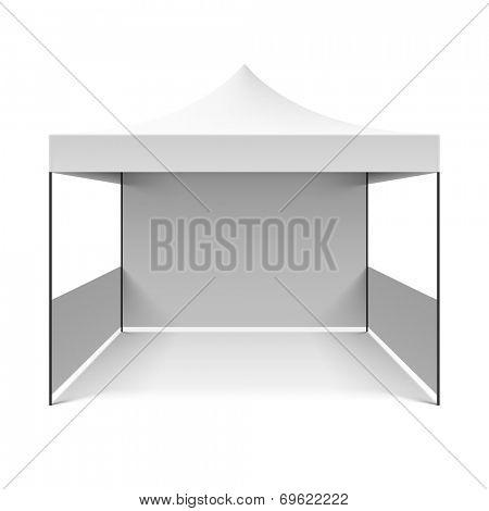 White folding tent. Vector.