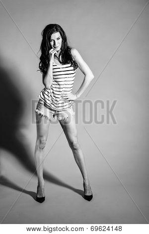 Bw Portrait Of Brunette Beautiful Girl Posing In Shorts