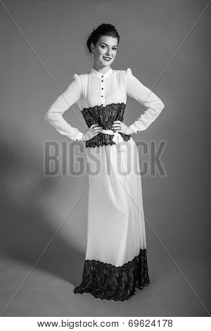 Bw Portrait Of Beautiful Girl Posing In Retrostyle Dress