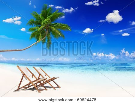 Non-Urban Scene of Tropical Beach in Summer
