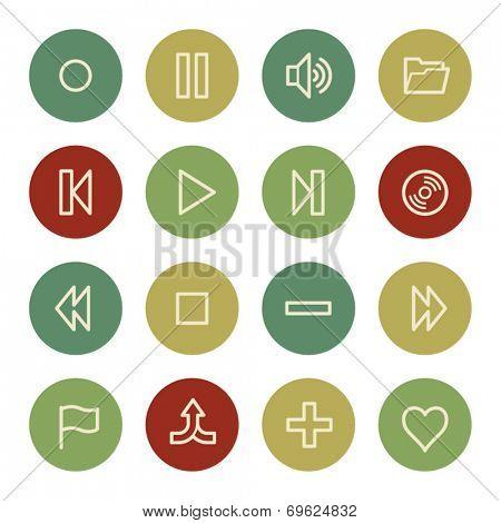 Media player web icons, vintage color