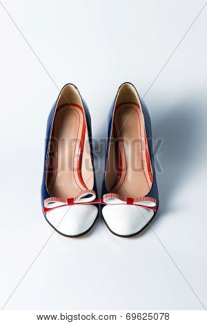 Woman Blue Shoes On White