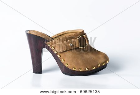 Woman Brown Shoes On White