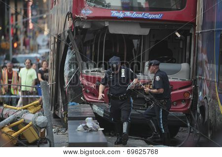NYPD traffic police at crash site