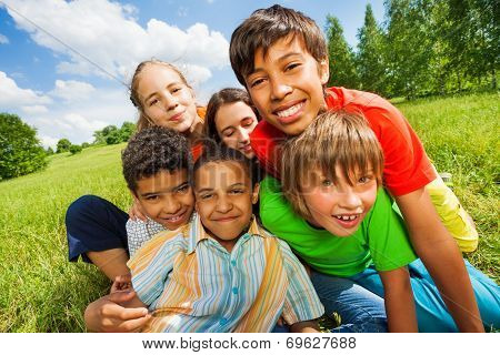 Close up view of happy smiling kids