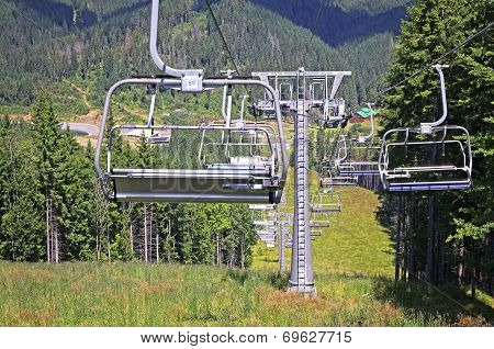 Ropeway On The Mountain Of Bukovel Ski Resort, Ukraine