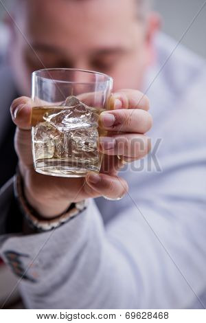 Heavy Drinker Shows A Glass Of Blame