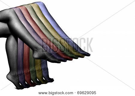 Collection of colorful stockings on sexy woman legs isolated on white