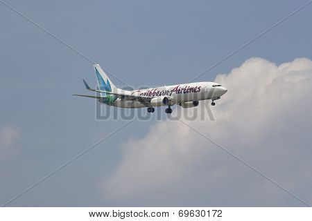 Caribbean Airlines Boeing 737 in New York sky before landing at JFK Airport