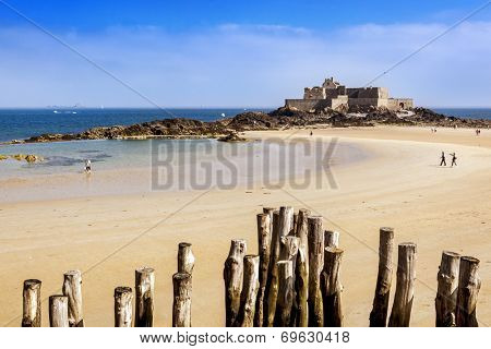 Fort National in Saint Malo, France, on a bright summer day.