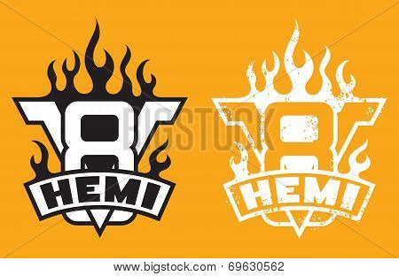V8 Hemi engine emblem with flames and grunge option