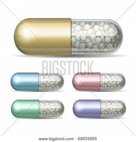 Set of medical capsule with granules