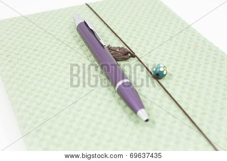 Handmade Notebook With Pen Isolated On White Background