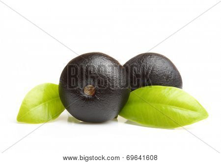 Amazon acai berry fruit with leaf isolated on white background.