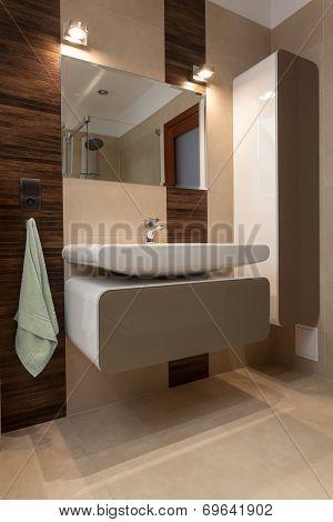Porcelain Sink In Modern Bathroom