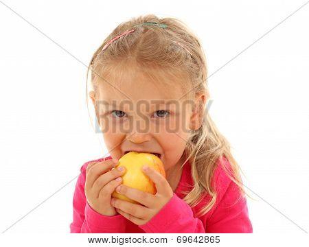 Little Girl Bites In An Apple