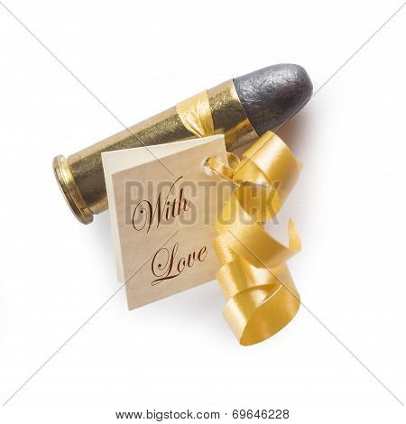 Bullet With A Card Decorated Like A Gift