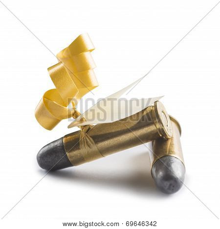 Bullets With A Card Decorated Like A Gift