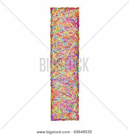 Alphabet Symbol Letter I Composed Of Colorful Striplines