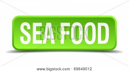 Sea Food Green 3D Realistic Square Isolated Button
