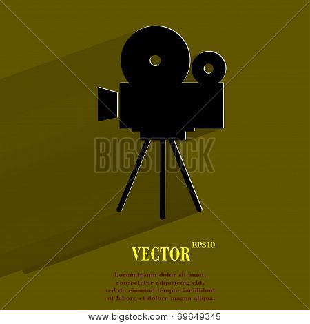 Videocamera. Flat modern web button with long shadow and space for your text.