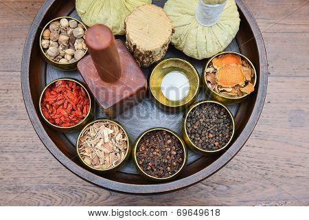 A Set Of Herb And Thai Herbal Ball For Spa Therapy