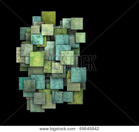 3D Green Square Tile Grunge Pattern On Black
