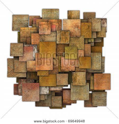 3D Orange Red Brown Square Tile Grunge Pattern On White