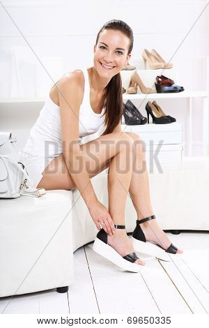 women shopping, Shoe Store