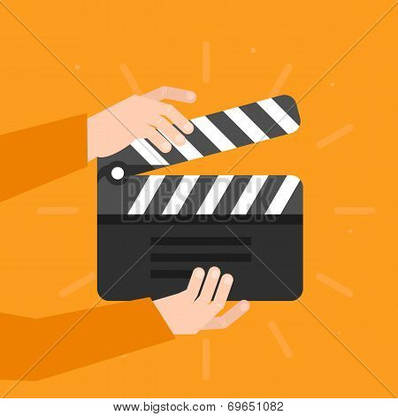 Two Hands Holding A Cinema Clapper In Flat Style