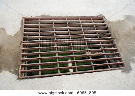 Close-up Of A Drainage Grate To Collect Excess Water