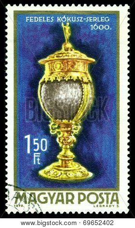 Vintage  Postage Stamp. Coconut Goblet.