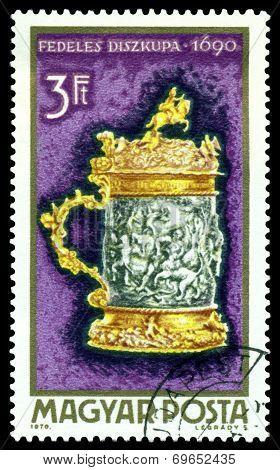 Vintage  Postage Stamp. Tankard, 1690.