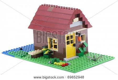 Ankara, Turkey - July 18, 2013: Lego Creator House isolated on white background