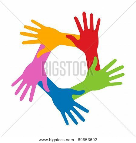Colorful Five Hands Icon