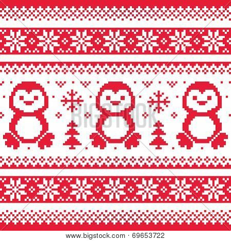Christmas, winter knitted pattern with penguins - Scandinavian sweater style